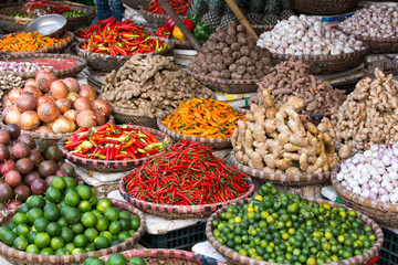 Bunches of fruits and spices