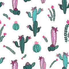 Seamless botanical repeat pattern with hand-drawn cactuses with blooms and branches in pink and aqua teal colors
