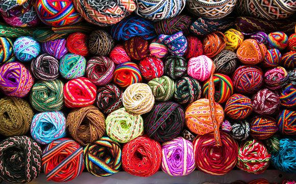 Knitting background. Knitting yarn for handmade winter clothes. Cusco , Peru.