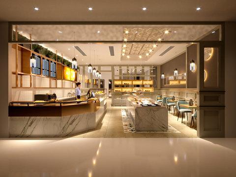 3d render of modern cafe and restaurant
