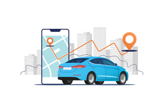 Big mobile phone with route and points location on a city map on the urban landscape background. Isometric view of blue vehicle. Mobile app for renting taxi online. Vector illustration.