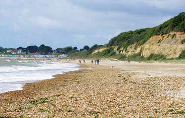 Summer beach scene in Christchurch in south coast of England