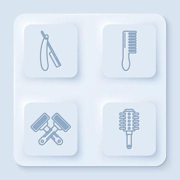 Set line Straight razor, Hairbrush, Crossed shaving razor and Hairbrush. White square button. Vector