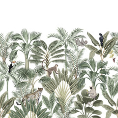 Tropical vintage botanical landscape, palm tree, banana tree, plant, sloth, monkey, leopard, black parrot, toucan floral seamless border white background. Exotic green jungle animal wallpaper.