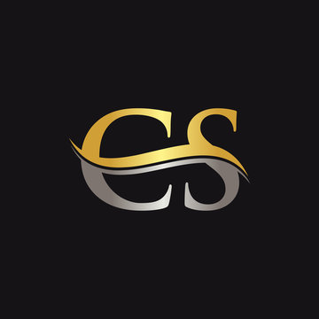 Initial Gold And Silver letter CS Logo Design with black Background. CS Logo Design.