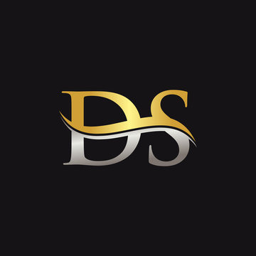 Initial Gold And Silver letter DS Logo Design with black Background. DS Logo Design