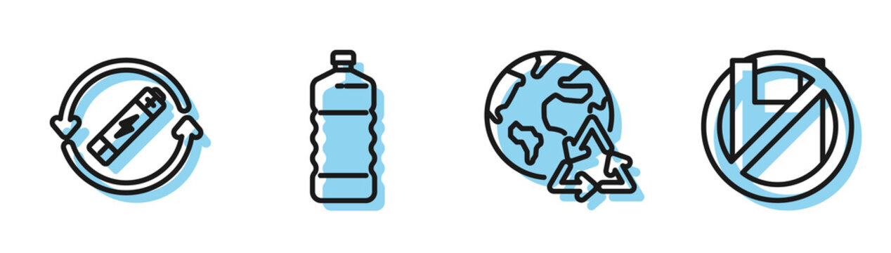 Set line Planet earth and a recycling, Battery with recycle symbol line, Plastic bottle and Say no to plastic bags poster icon. Vector