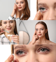 Collage of photos with young woman putting in contact lens