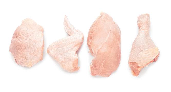 Raw chicken meat on white background