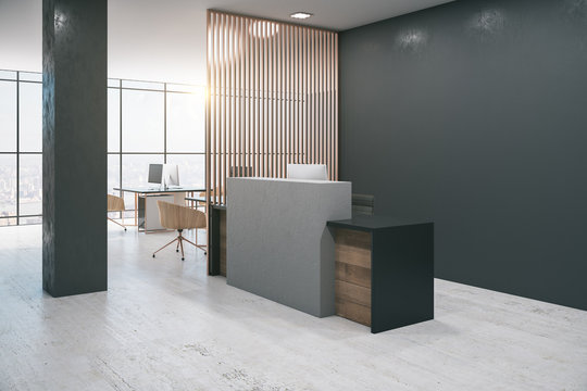 Office lobby interior with reception desk,