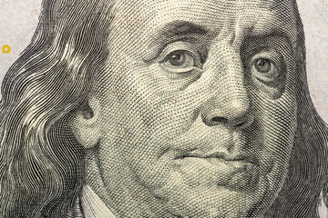 One hundred US dollars close-up. Very detailed picture of American money.