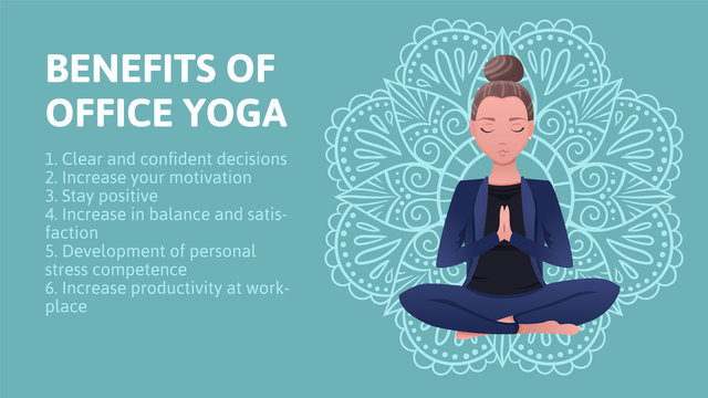 Business woman in blue suit is sitting in a lotus pose. Benefits of office yoga on hand drawn mandala background. The concept of business yoga Vector flat illustration