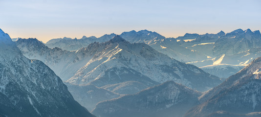 Mountain View from a Bavarian Top Point to the surrounding alp scenery during winter Fototapete