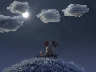 elephant and dog are sitting on a meadow on a moonlit night