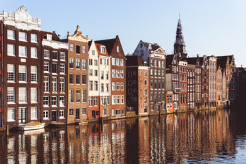 Canvas Prints Amsterdam Traditional Dutch buildings at Damrak in Amsterdam, Netherlands
