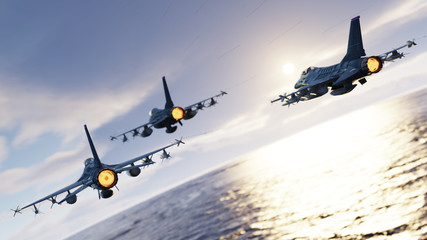 F-16 jet fighters flying together above the sea back view 3d render