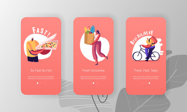 Delivery Service Order Shipping Mobile App Page Onboard Screen Set. Courier Delivering Pizza on Bicycle, Woman Carry Bag with Food Concept for Website or Web Page, Cartoon Flat Vector Illustration