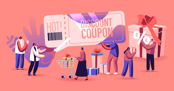 Sale Concept. Happy People Shopping Recreation. Male and Female Characters Buying Things and Presents for Holidays Using Discount Coupon. Consumerism Price Off Promo. Cartoon Flat Vector Illustration