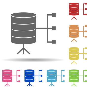 Data, connection, relational database in multi color style icon. Simple glyph, flat vector of business icons for ui and ux, website or mobile application