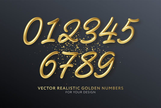 Realistic 3d lettering numbers isolated on black background. Golden numbers set. Decoration elements for banner, cover, birthday or anniversary party invitation design. Vector illustration