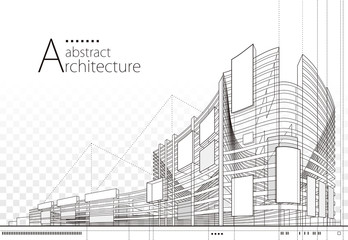 Custom vertical slats with your photo 3D illustration architecture building construction perspective design,abstract modern urban building line drawing.