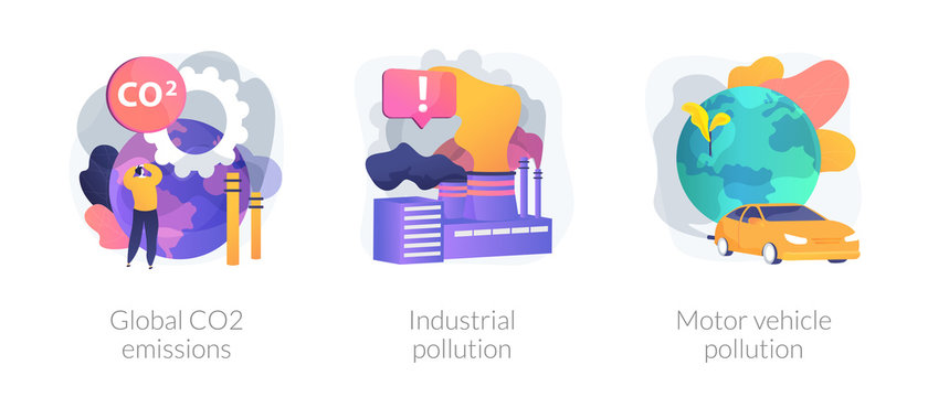 Plant and factory harm. Toxic chemical industry. Car smoke. Global CO2 emissions, industrial pollution, motor vehicle pollution metaphors. Vector isolated concept metaphor illustrations