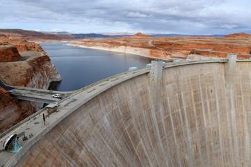 Glen Canyon Dam on Colorado River which creates Lake Powell near Page Arizona