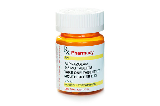 Alprazolam Prescription Bottle Isolated On White