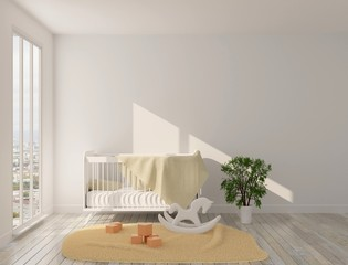Interior of the children's room with panoramic windows, crib and toys on the floor. Sun light and a carpet on the floor. 3D rendering. 3D illustration.