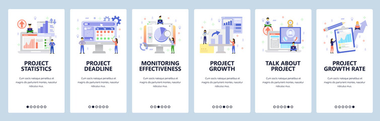 Business isometric icons, project analytics, financial chart, deadline, conference call. Mobile app onboarding screens. Vector banner template for website and mobile. Web site design flat illustration