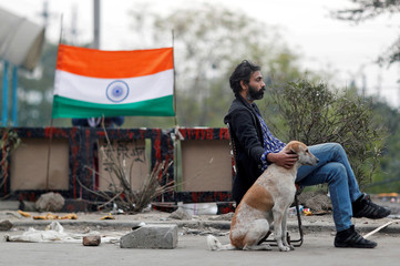 A man sits with a dog on a road blocked by demonstrators to protest against a new citizenship law, in New Delhi