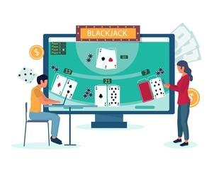 Online blackjack gambling vector concept for website page