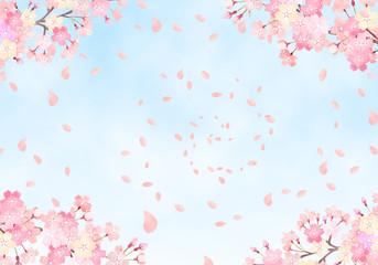 水彩 手描き風 桜と空の背景イラスト 02