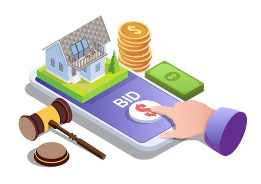 House auction online vector concept for web banner, website page