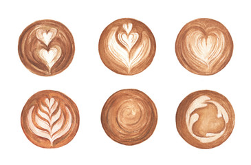 Papiers peints Cafe Set Latte Art, heart shape, latte art coffee isolated on white background. Top view of hot coffee cappuccino latte art foam. Watercolor illustration.