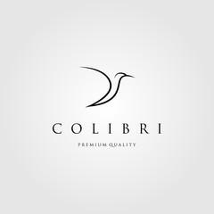 line art colibri logo humming bird vector, label, badge, illustration design