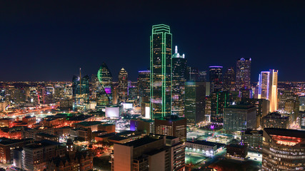 Fototapete - Dallas, Texas Cityscape with Skyscrapers Illuminated at Night