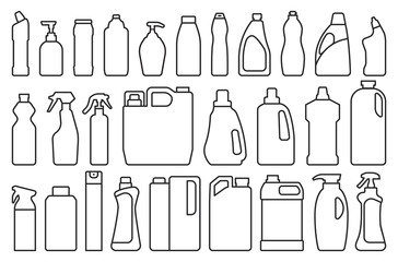 Fototapeta Detergent of product line set icon.Vector illustration detergent for laundry on white background .Isolated line set icon bottle domestic.