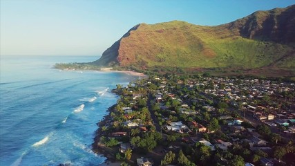 Wall Mural - Aerial view of the Oahu's west coast with ocean