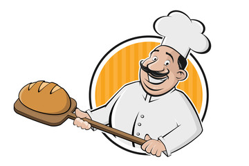 funny cartoon sign of a baker holding a delicious bread