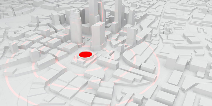 red rings of epicenter in the white city