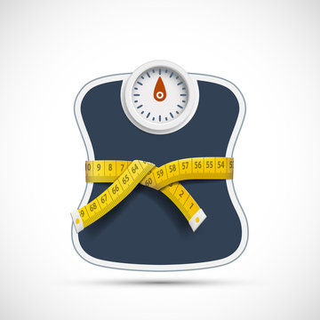 Weighing scales with measuring tape. Weight loss concept