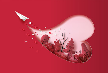 Paper plane flying in the sky with heart shape and plants, paper art style, flat-style vector illustration.
