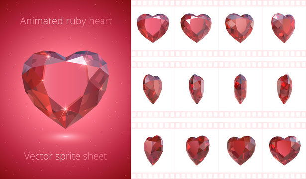 Vector frames of rotating red heart. Luxury ruby crystal Valentine. Symbol of love. Set of 3d realistic icons. 12 fps. Looped sequence for GIF, flash HTML animation an motion design. Isolated clipart