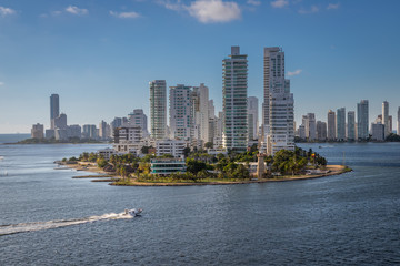 """Pano view of the city of """"Cartagena de las Indias"""" in Colombia, taken from a ship while arriving at the city."""