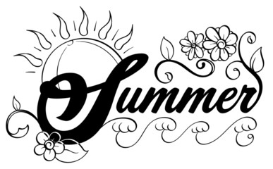 Summer Word Art Black and White