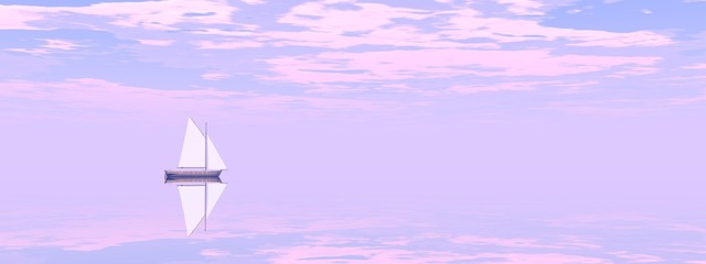 Photo sur Plexiglas Lilas very beautiful sailboat on the sea - 3d rendering