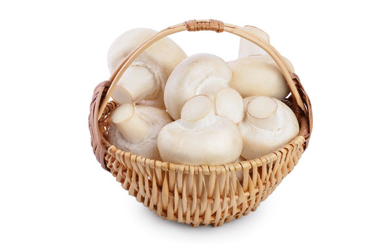 Fresh mushroom champignon in a wicker basket isolated on white background with clipping path