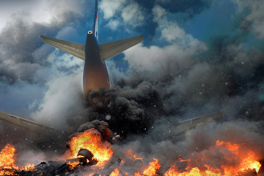 Plane crash, plane on fire and smoke. Fear of Air Travel Concept