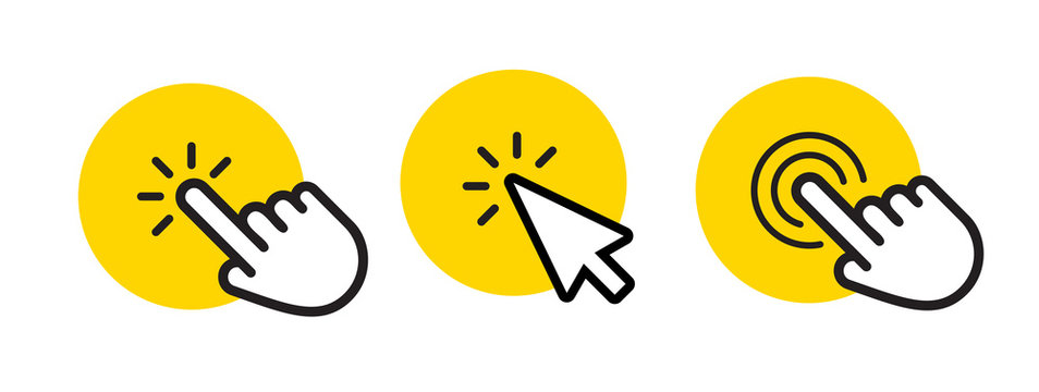 Click poineter icons set, cursor and point web graphic element, buttons template. Vector icons set